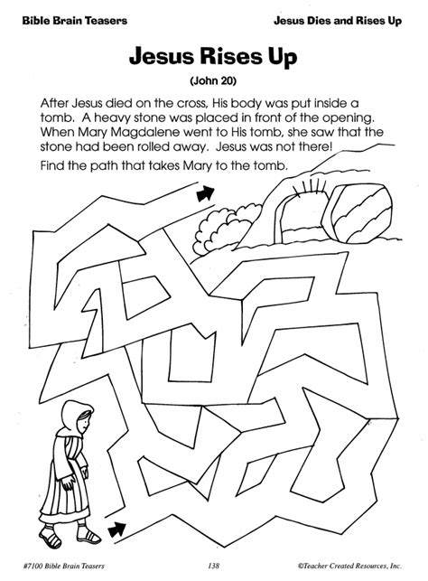 Jesus Rises Up Christian Easter Reproducible Skill Page Students Help  sketch template