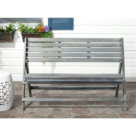 folding patio bench safavieh luca ash grey acacia wood folding patio bench