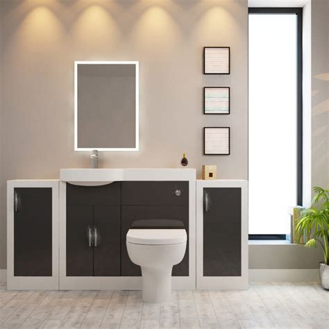 Buy Bathroom Furniture Apollo Bathroom Fitted Furniture Set Grey With 2 Storage Units Buy At Bathroom City