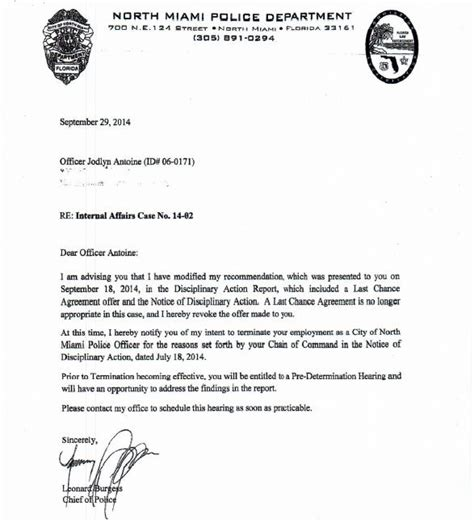 Predetermination Letter