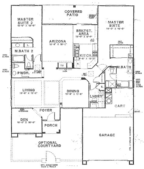 Ranch Floor Plans With Two Master Suites by Sun City Vistoso Floor Plan Hampton Model Floor Plan