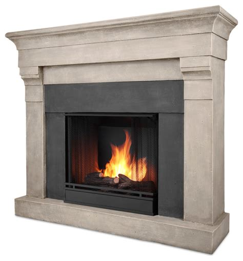 modern indoor fireplace torrence cast cinder gel fuel firebox mantel