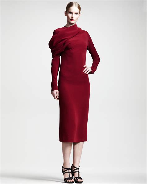 Haider Ackermann Draped Long Sleeve Silk Dress In Red