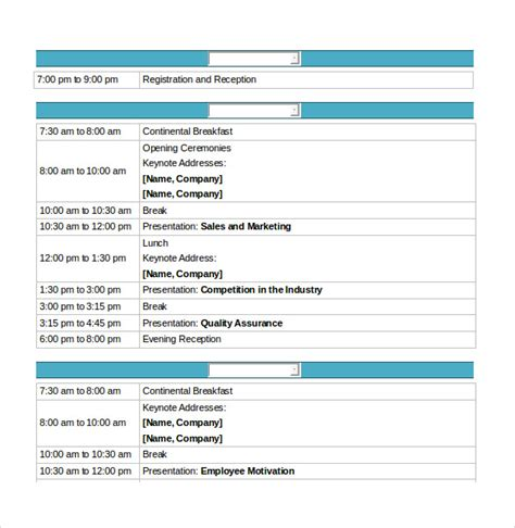 conference schedule template sle conference schedule 16 documents in pdf word