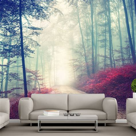 room wall murals magical road wall mural forest tree wallpaper living room photo decor