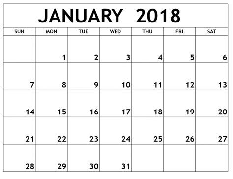 january 2018 printable calendars