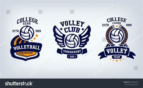 volleyball club emblem college league logo stock vector