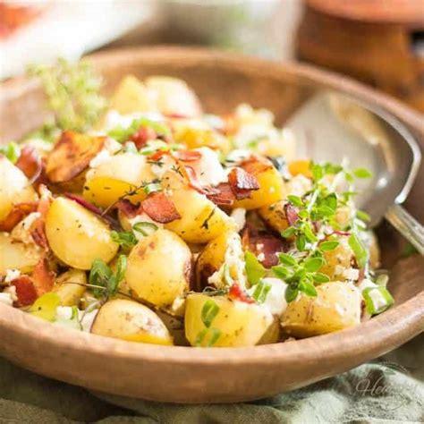 Crispy Salad Potato warm potato salad with goat cheese and crispy bacon