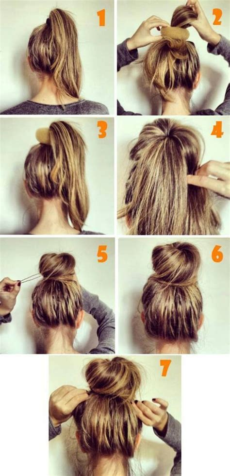 how to diy easy sock bun updo hairstyle with elastic web top 25 messy hair bun tutorials perfect for those lazy