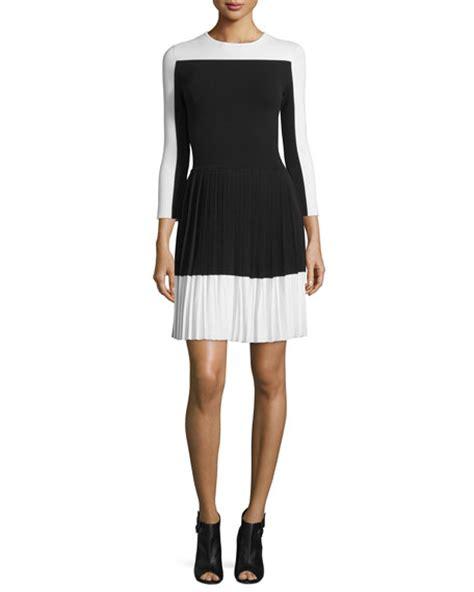 3 4 Sleeve Pleated Dress carolina herrera 3 4 sleeve pleated skirt dress black white