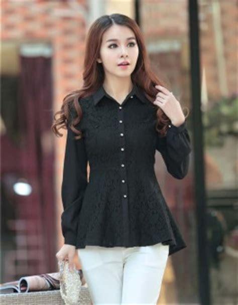 Baju Hitam Lengan Panjang Kosong kemeja wanita hitam lengan panjang jual model terbaru murah