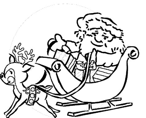free coloring pages of santa on sleigh