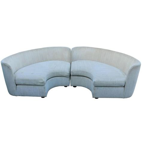 semi circle loveseat pair of curved semi circular sofas by henrendon at 1stdibs