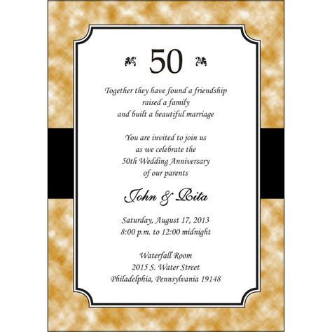 50th Wedding Invitations by 25 Personalized 50th Golden Wedding Anniversary