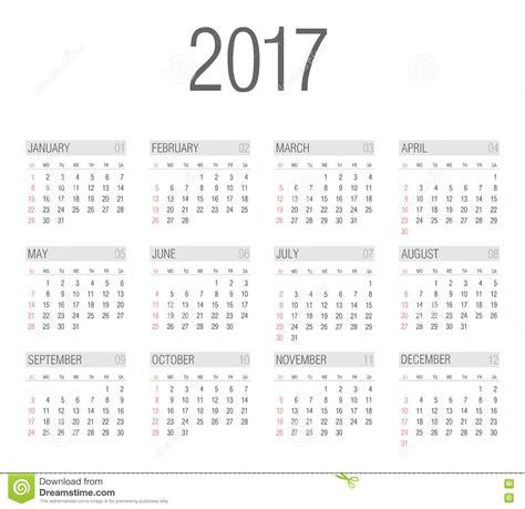 Simple Calendar Vector Simple 2017 Year Calendar Stock Vector Image