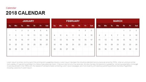 2018 Calendar Powerpoint And Keynote Template Slidebazaar Powerpoint Calendar Template 2018