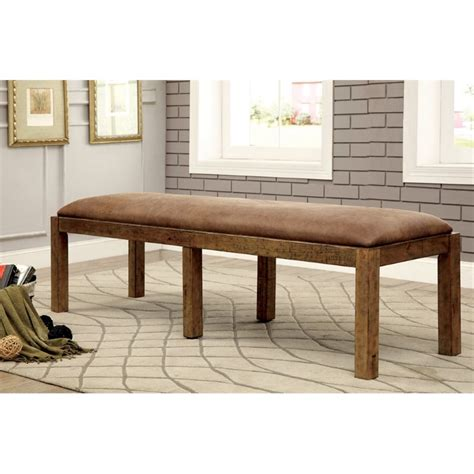 rustic pine dining bench furniture of america quillis upholstered dining bench in