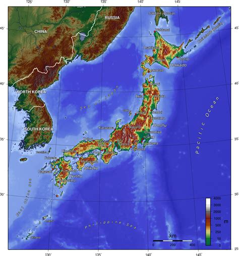 physical map of japan japan topography map topographic map of japan physical