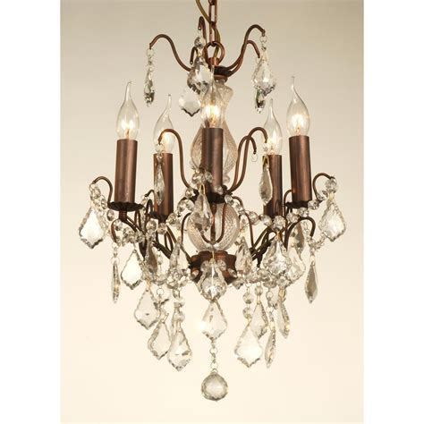 Small Glass Chandelier 5 Light Small Glass Chandelier Bronze Finish Swanky Interiors