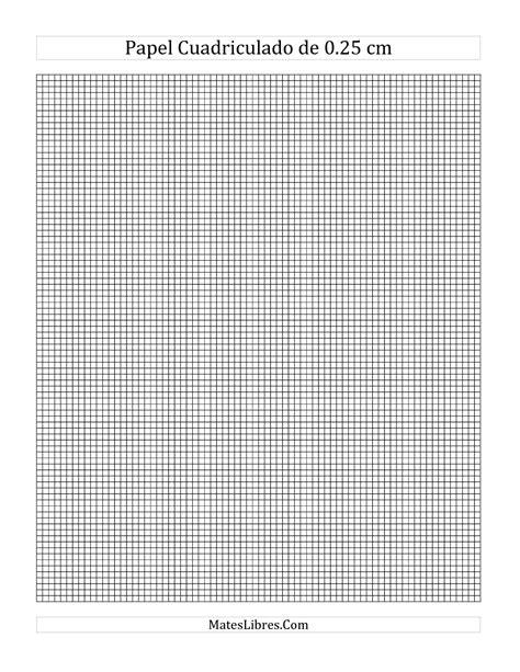 Papel Cuadriculado de 0.25 cm (A) Hoja de Ejercicio de