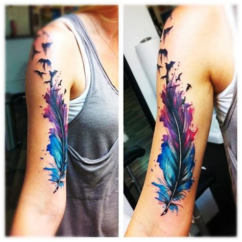 watercolor tattoo feathers single feather best ideas gallery