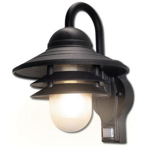 Motion Sensing Outdoor Light Newport Coastal Marina 110 Degree Outdoor Black Motion Sensing Light 7972 11b The Home Depot
