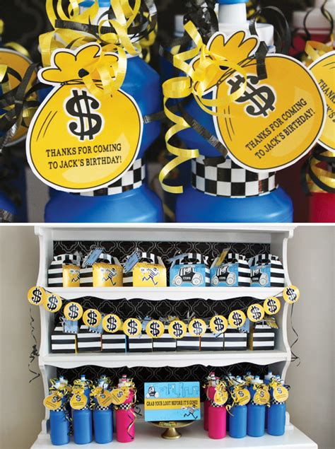 money themed decorations lego cops and robbers birthday hostess with the