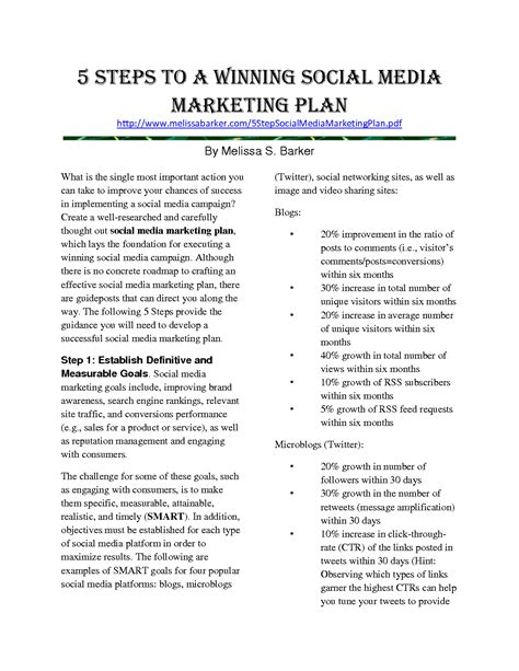 social media marketing plan template free social media strategy