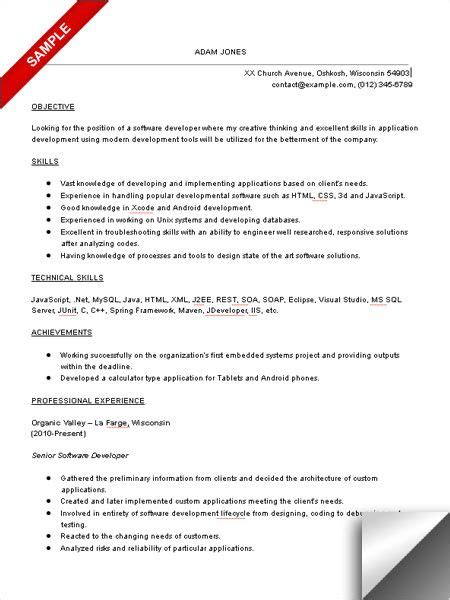 career objective for experienced software developer software developer resume sle objective skills