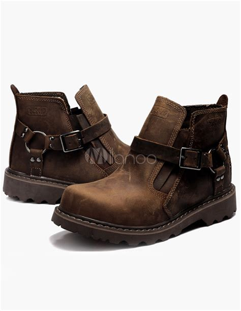 buckle mens boots brown buckle cowhide s boots milanoo