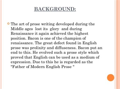 Prose Style Of Francis Bacons Essays by Bacon As A Of Modern Literature