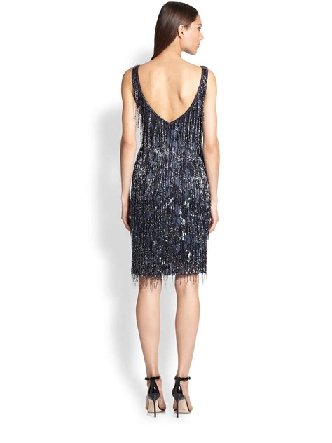 fringe beaded dress theia beaded fringe dress in blue lyst