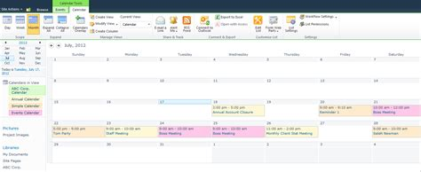 sharepoint calendar template sharepoint calendar manage outlook in sharepoint