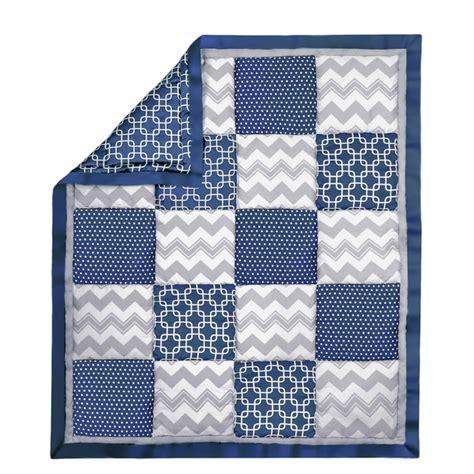 Navy Patchwork Quilt - geo patchwork cotton quilt in navy grey