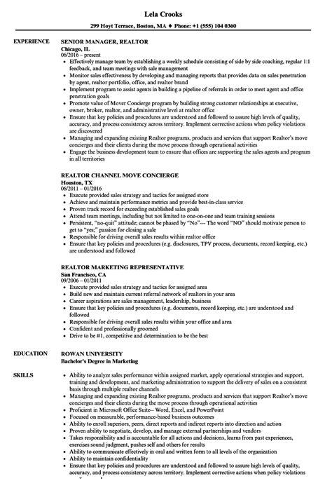 Realtor Resume by Realtor Resume Sles Velvet
