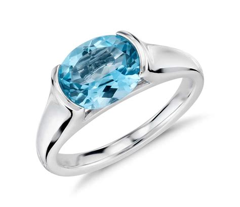 Blue Topaz Set Ring bezel set oval blue topaz ring in 14k white gold plated silver shop for jewelry