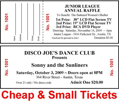 100 Raffle Tickets Drawing Admission Door Dance Tickets Custom Printed Cheap Small Raise Money Custom Raffle Ticket Template