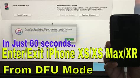 how to put iphone xs iphone xs max xr in dfu mode exit from dfu mode
