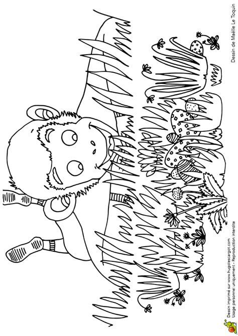 Coloriage petit singe trouve des oeufs sur Hugolescargot.com