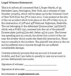 Written Statement Template Witness by Car Car Witness Statement Sle