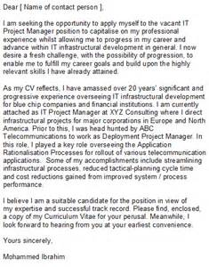 sle it project manager cover letter