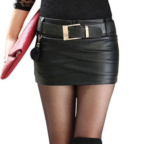 Rok Mini Bawahan Wanita Black Leather M Murah Original frauen designer schwarzen pu lederr 246 cke boot leder