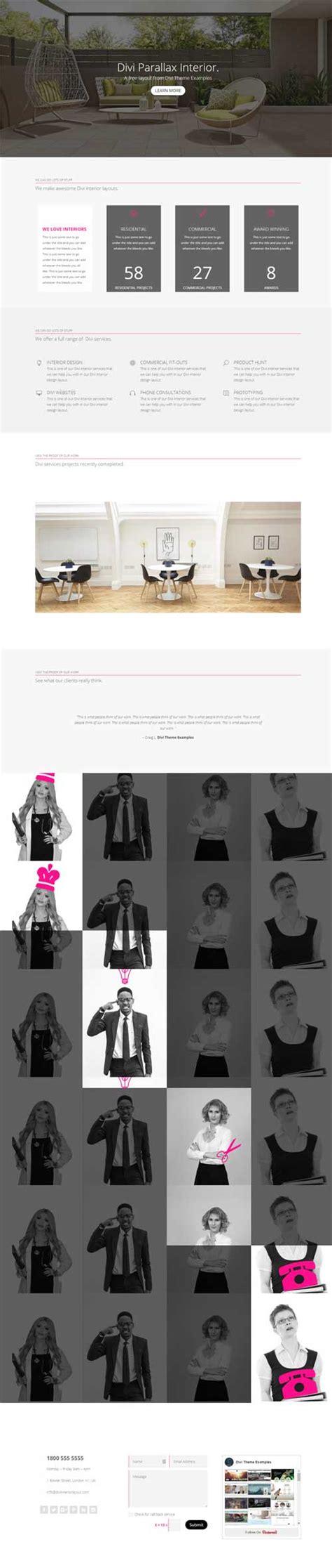 interior design agency interior design agency 1 page layout divi theme layouts