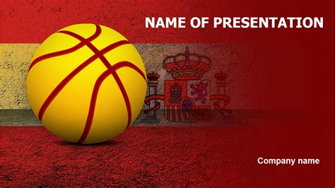 Spain Basketball Ball Powerpoint Template For Impressive Basketball Powerpoint Presentation