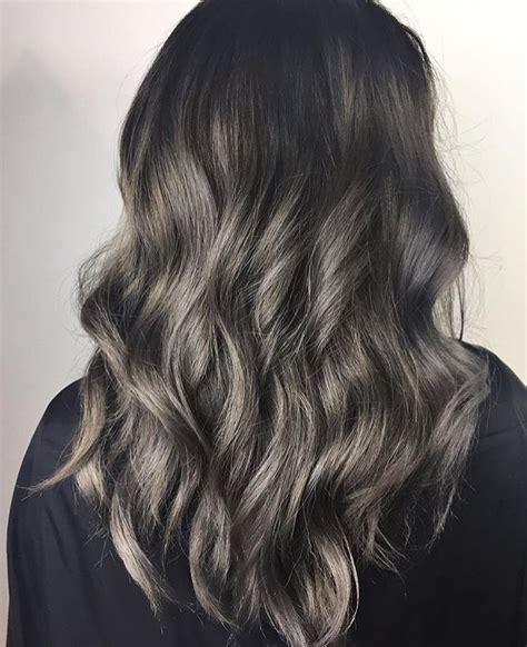 black hairstyles vancouver smokey silver balayage charcoal hair grey hair grey