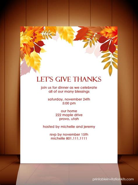 Thanksgiving Invitation Card Template by Best 25 Thanksgiving Invitation Ideas On