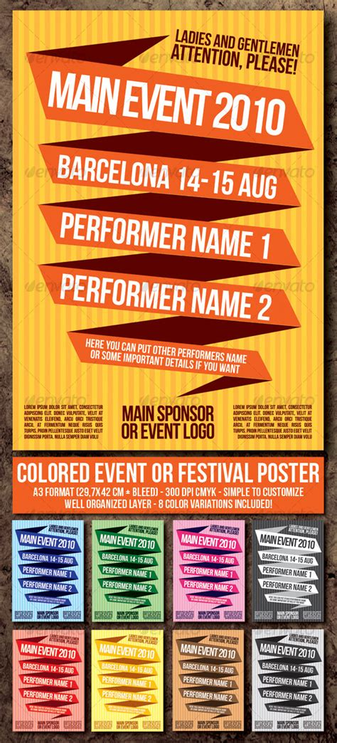 event poster template colored event festival poster template club fliers