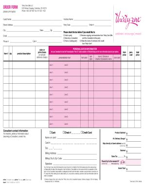 printable order form for thirty one thirty one order form fill online printable fillable