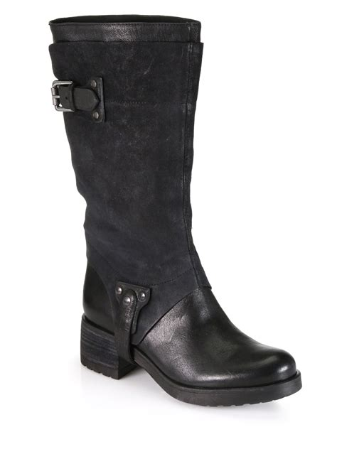 vera wang lavender essie suede leather motorcycle boots in