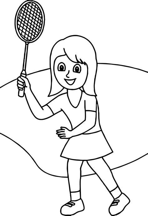 girl with badminton racquet coloring page wecoloringpage